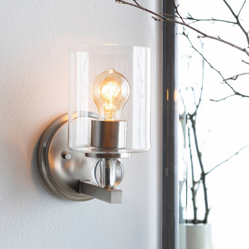 Contemporary Nickel & Crystal Accented Glass Cylinder Wall Sconce