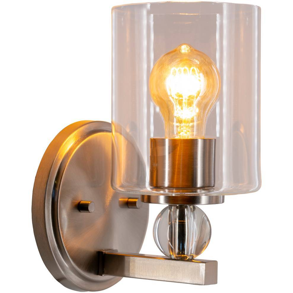 Modern Nickel & Crystal Accented Glass Cylinder Wall Light