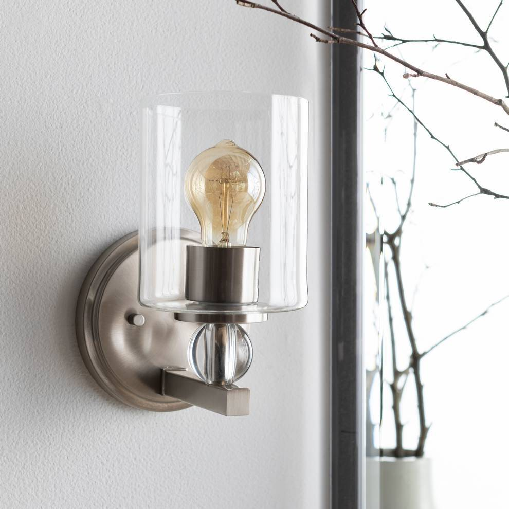 Modern Nickel & Crystal Accented Glass Cylinder Wall Sconce