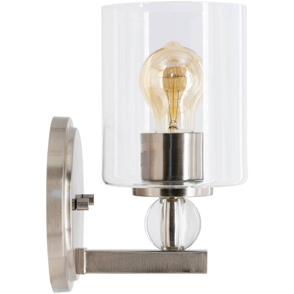 Contemporary Nickel & Crystal Accented Glass Cylinder Wall Light