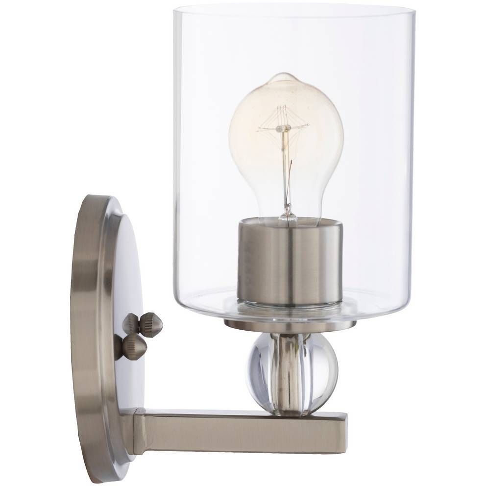 Contemporary Crystal Accented Nickel Glass Cylinder Wall Lighting