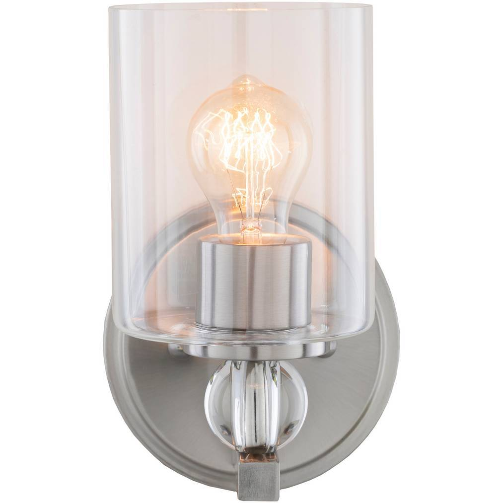 Contemporary Nickel & Crystal Accented Glass Cylinder Sconce