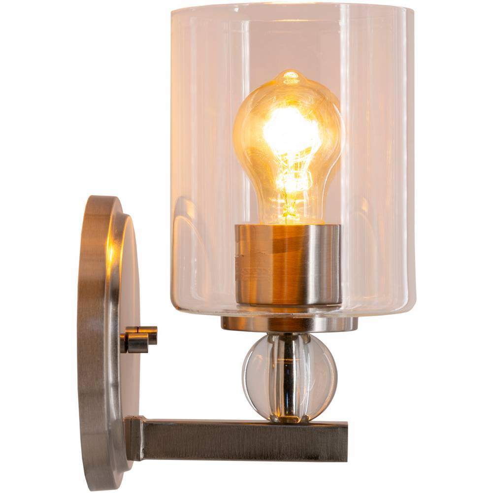 Modern Nickel and Crystal Accented Glass Cylinder Wall Lighting