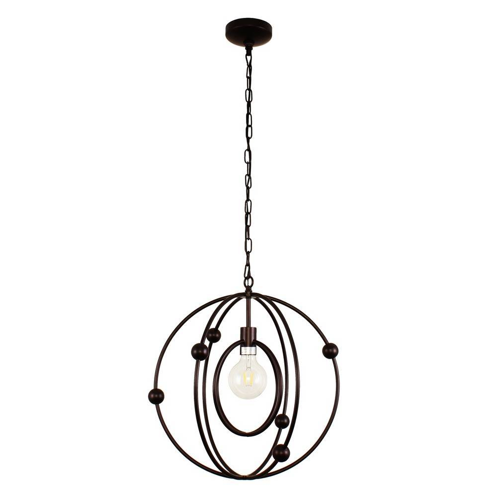 Contemporary Oil Rubbed Bronze Cage Globe Pendant Light