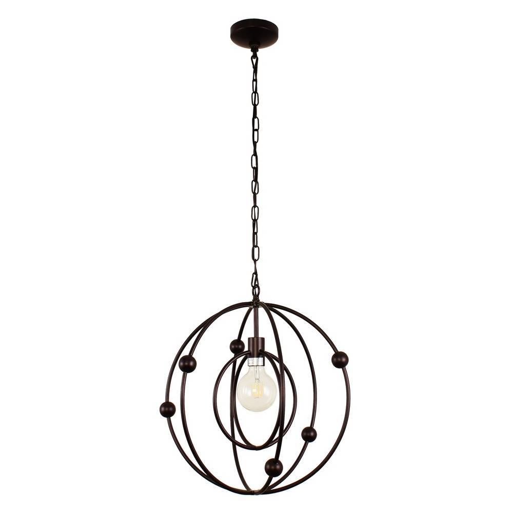 Modern Oil Rubbed Bronze Cage Globe Pendant Light