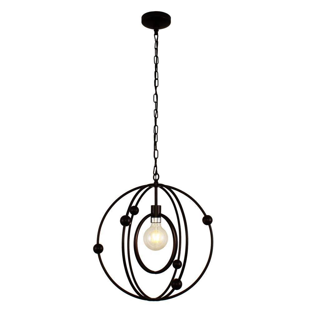 Modern Oil Rubbed Bronze Cage Globe Hanging Light