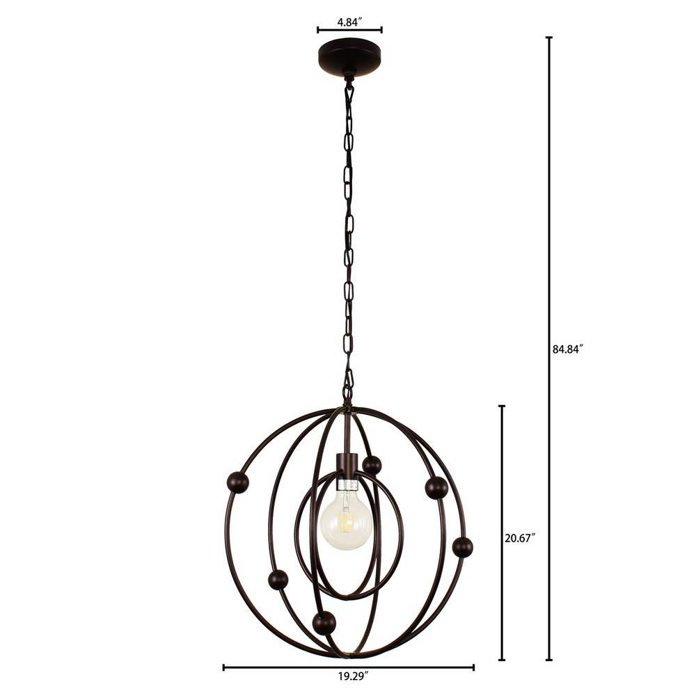 Contemporary Oil Rubbed Bronze Cage Globe Hanging Light
