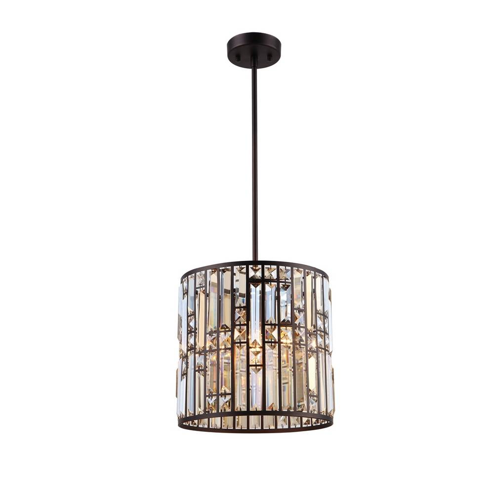 Modern Oil Rubbed Bronze Clear Crystal Glass Drum Pendant Lighting