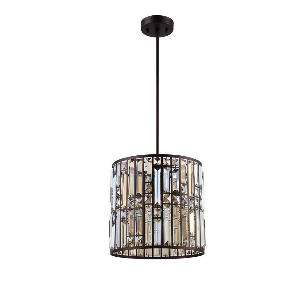 Modern Oil Rubbed Bronze Clear Crystal Glass Drum Pendant Light