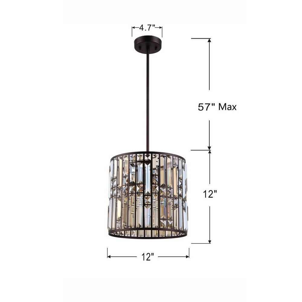 Modern Oil Rubbed Bronze Clear Crystal Glass Drum Hanging Light