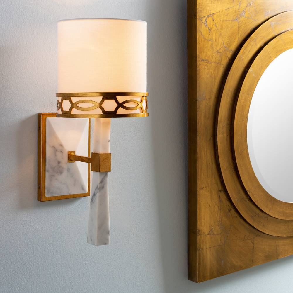 Modern White Marble & Gold Gilded Metal White Shade Wall Lighting