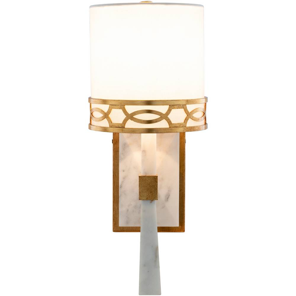 Modern White Marble & Gold Gilded Metal White Shade Sconce