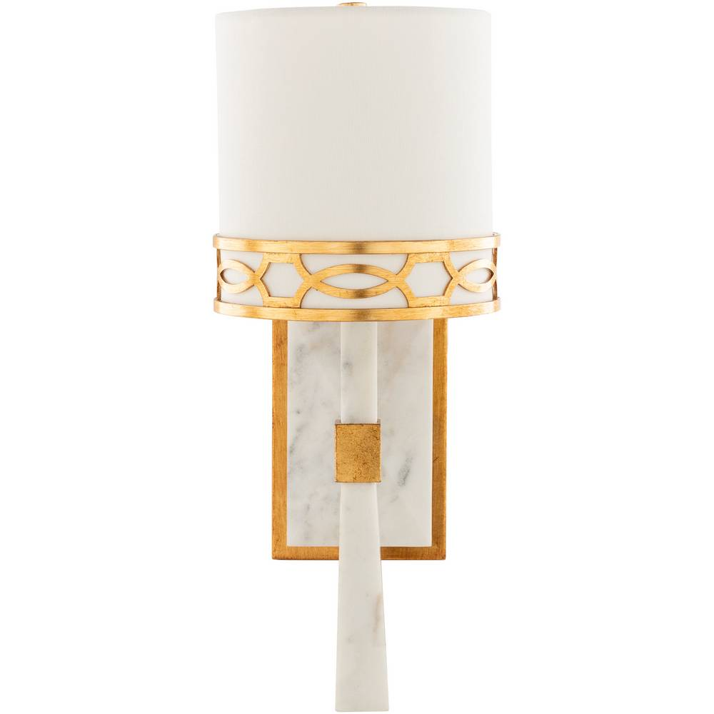 Modern White Marble & Gold Gilded Metal White Shade Wall Sconce