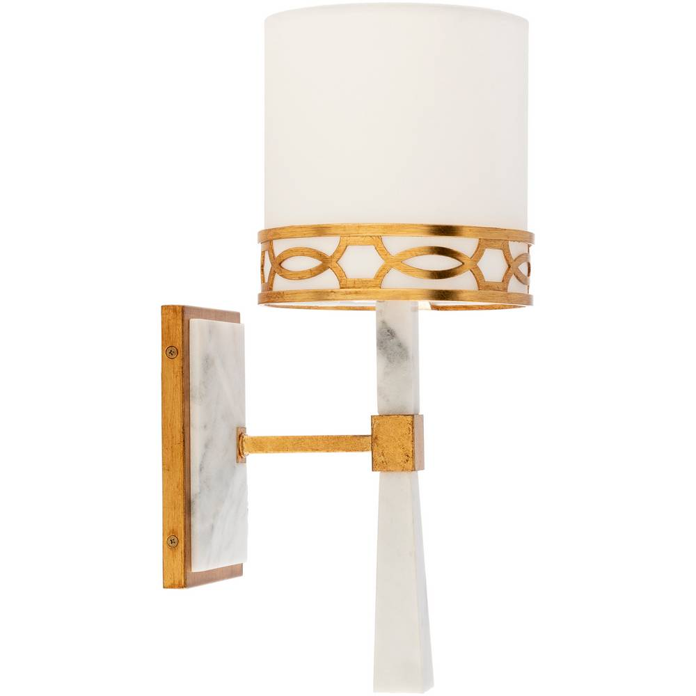Modern White Marble & Gold Gilded Metal White Shade Wall Fixture
