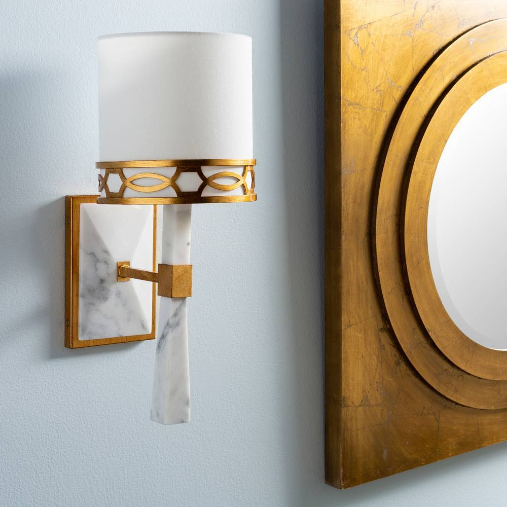 Modern White Marble & Gold Gilded Metal White Shade Wall Light