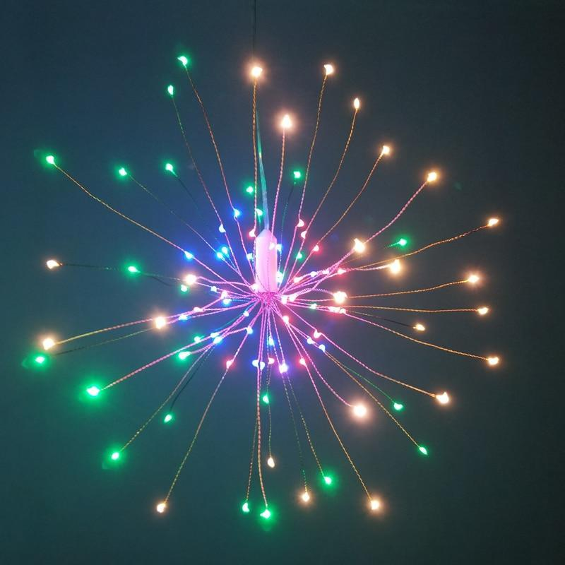 Multi-Color / 100: 2 LEDs Per String (50) Hanging LED Starburst Lights with Remote Control
