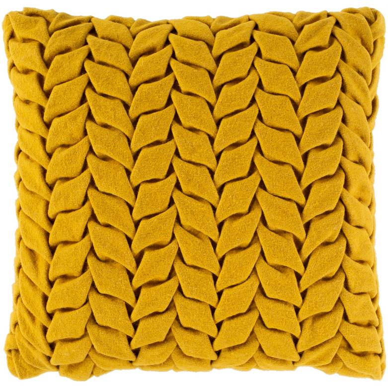 mustard yellow throw pillow with a knife edge