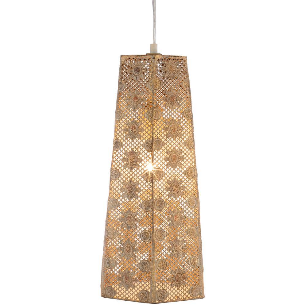 Plug-in Vintage Gold Flower Pattern Long Cone Pendant Light