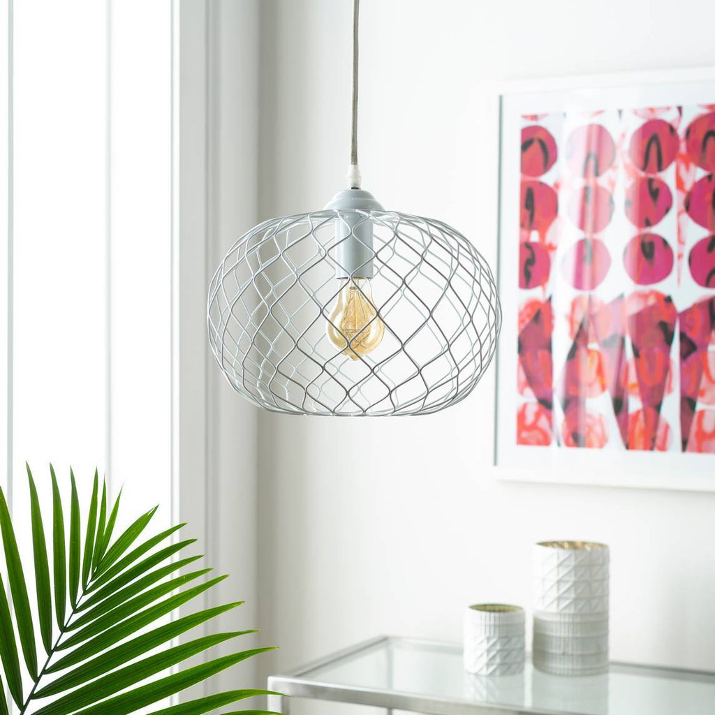Plug-in 1-Light Powder Coated White Wire Cage Globe Pendant