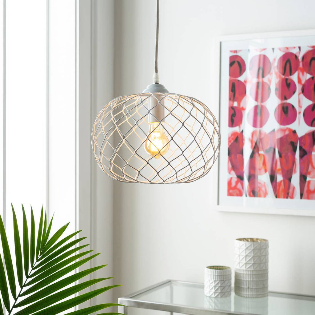 Plug-in One Light Powder Coated White Wire Cage Sphere Pendant