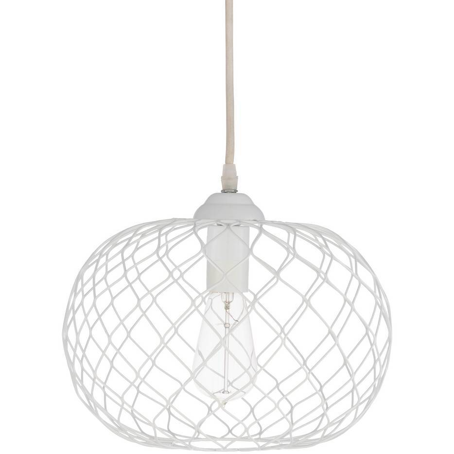 Plug-in 1-Bulb Powder Coated White Wire Cage Orb Pendant