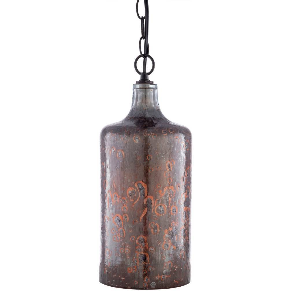 Plug-in Farmhouse Copper Distressed Glass Tube Pendant Light