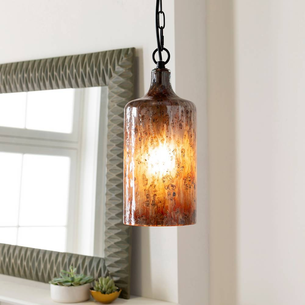 Plug-in Farmhouse Copper Distressed Glass Cylinder Pendant Light