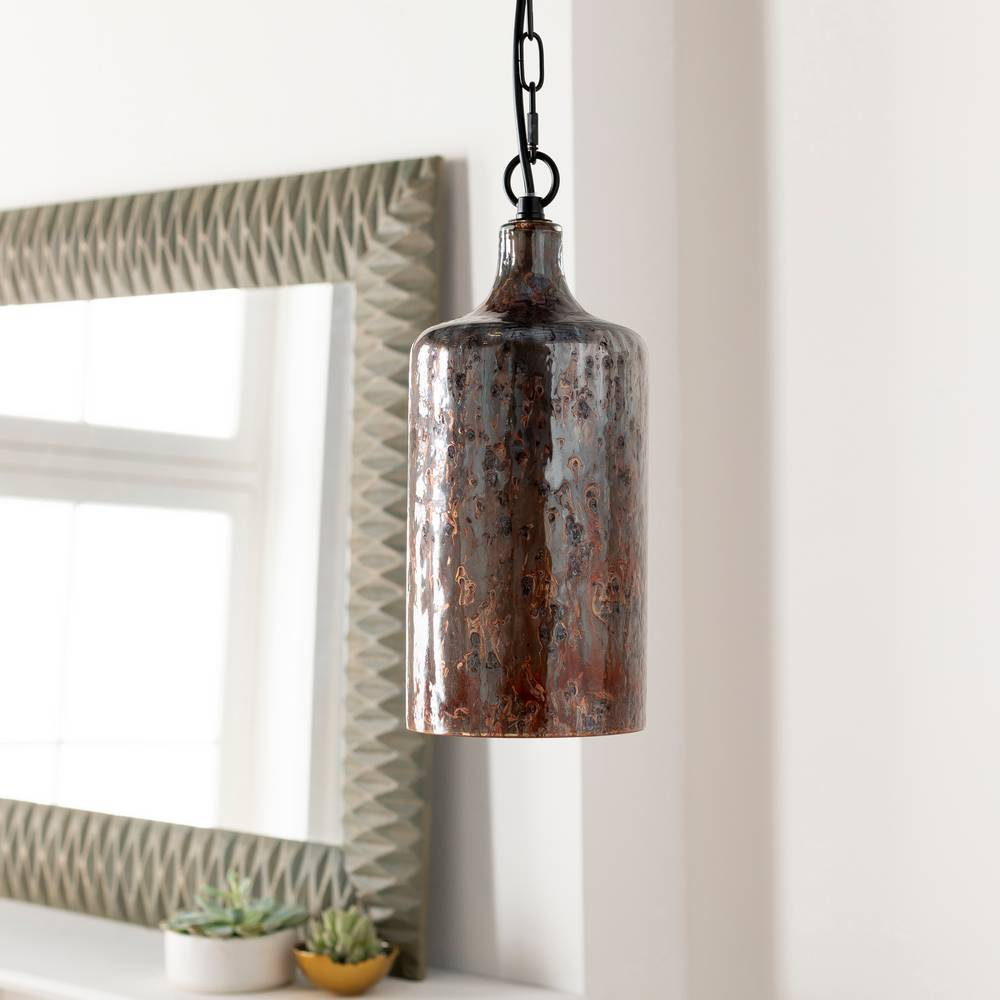Plug-in 1-Light Rustic Copper Distressed Glass Cylinder Pendant