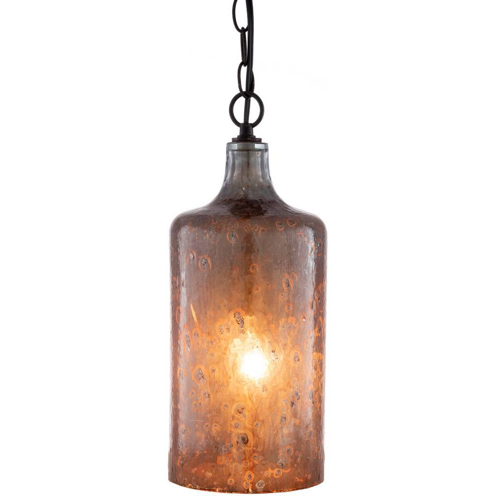 Plug-in Rustic Copper Weathered Glass Tube Pendant Light