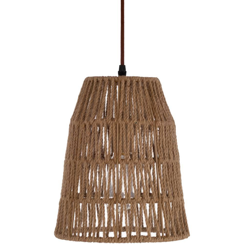 Plug-in Vintage Tapered Rattan Cone Pendant Light