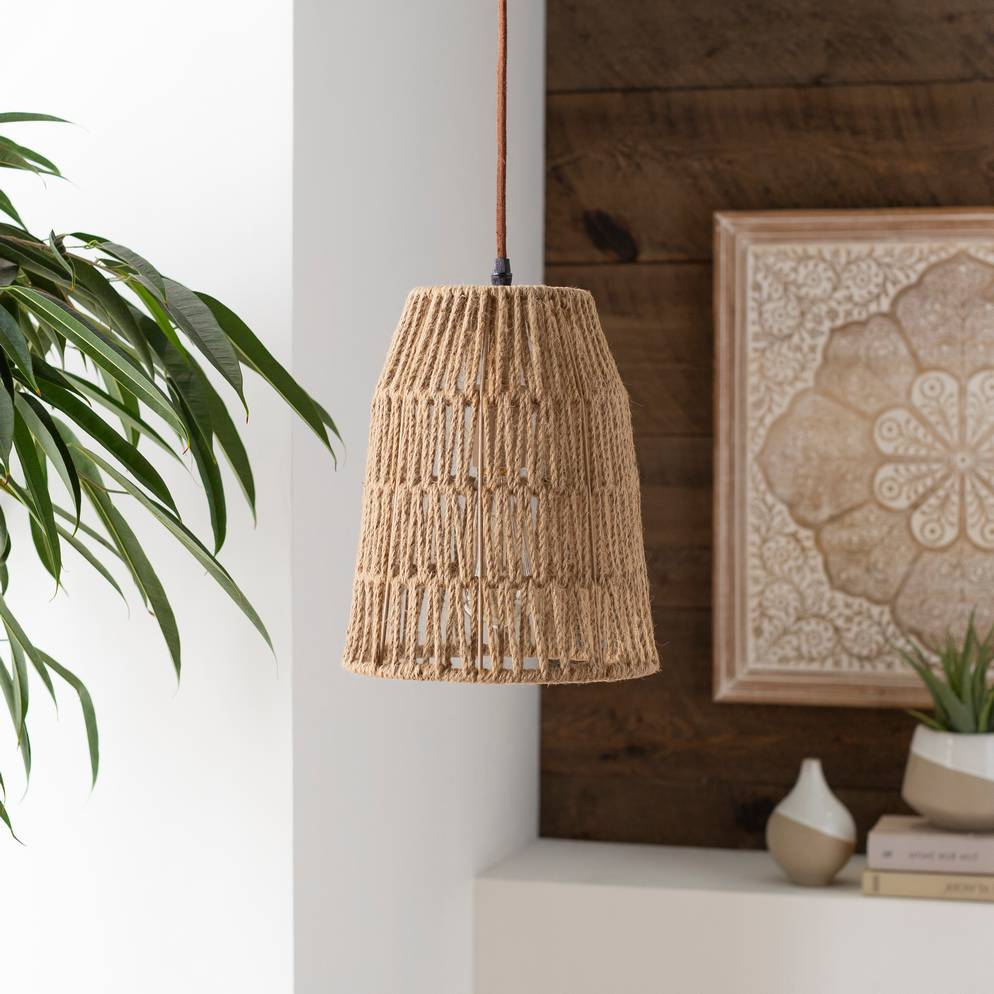 Plug-in 1-Light Vintage Tapered Rattan Cone Pendant