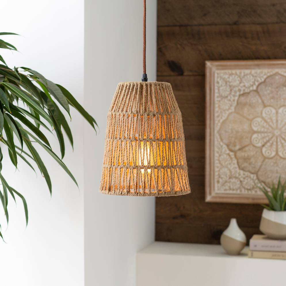 Plug-in Vintage Tapered Wicker Cone Pendant Light
