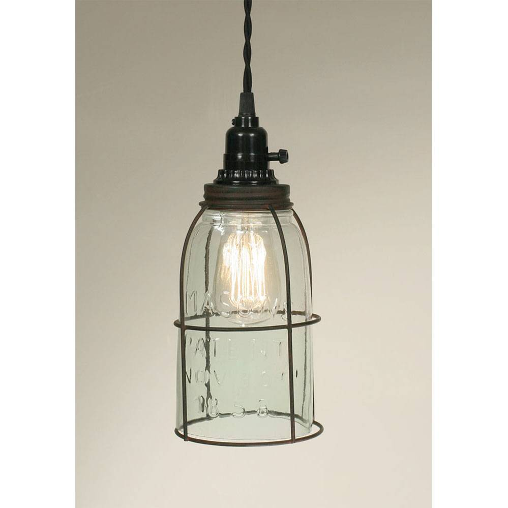 Plug-in Farmhouse Half Gallon Open Bottom Mason Jar Pendant