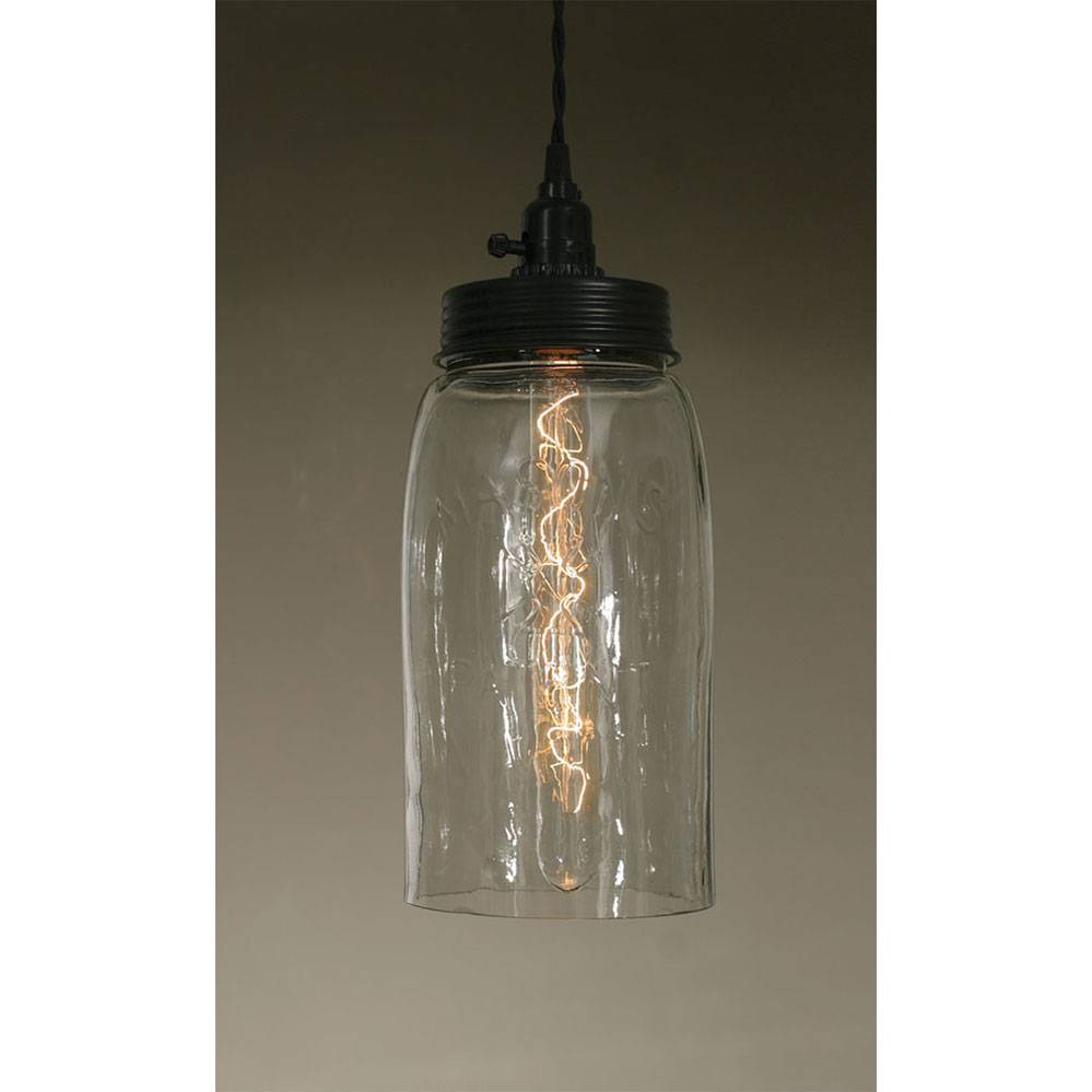 Plug-in Industrial Farmhouse Large Open Bottom Glass Jar Pendant