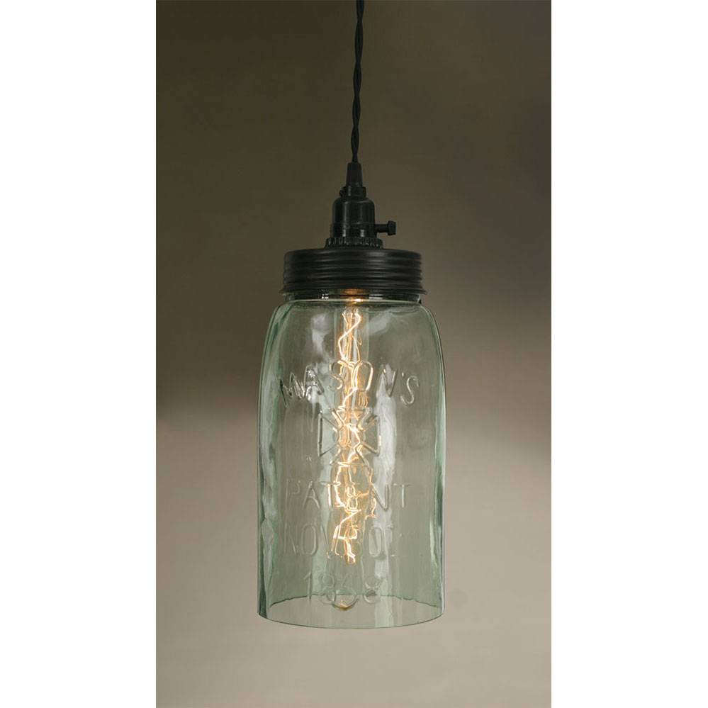 Plug-in Industrial Farmhouse Open Bottom Long Mason Jar Pendant