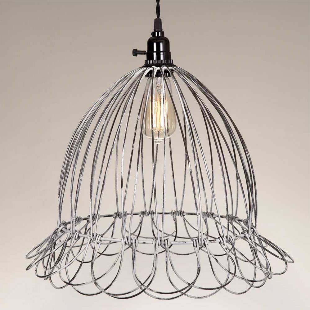 Plug-in Industrial Farmhouse Silver Wire Cage Bell Pendant