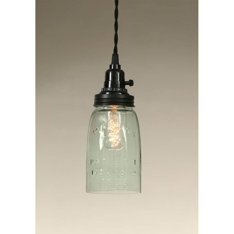Plug-in Quart Open Bottom Mason Jar Pendant Lamp