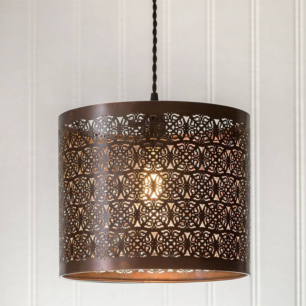 Plug-in Vintage Farmhouse Brown Cutout Drum Shade Pendant