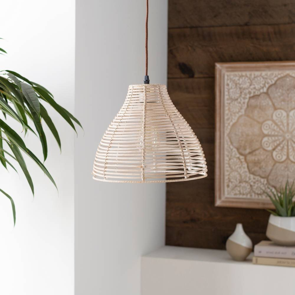 Plug In Vintage Gray Rattan Bell Pendant Light