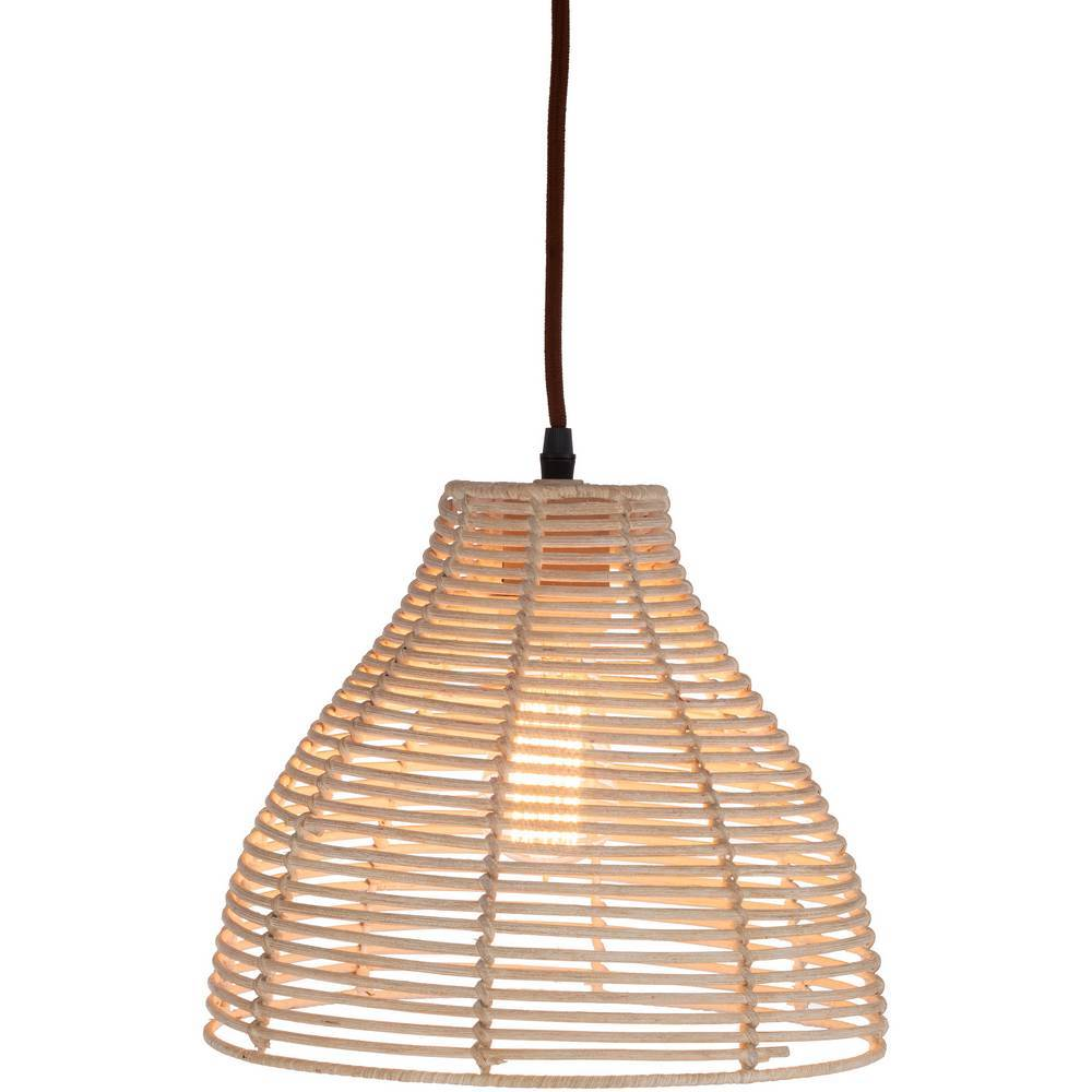 Plug In Vintage Gray Rattan Bell Hanging Lamp
