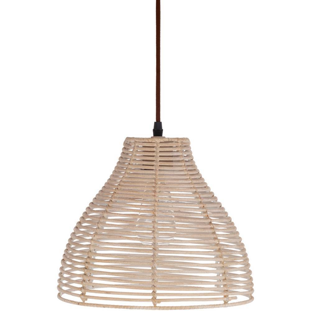 Plug In Vintage Gray Rattan Bell Hanging Light