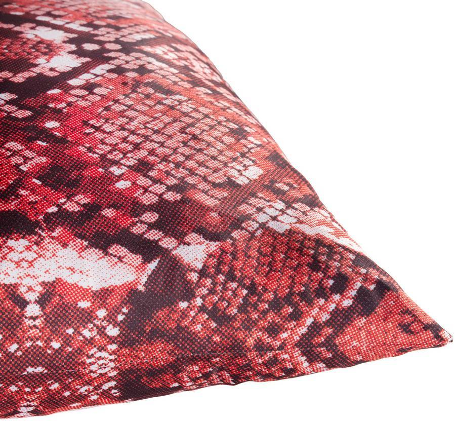 red and white faux snakeskin throw pillow