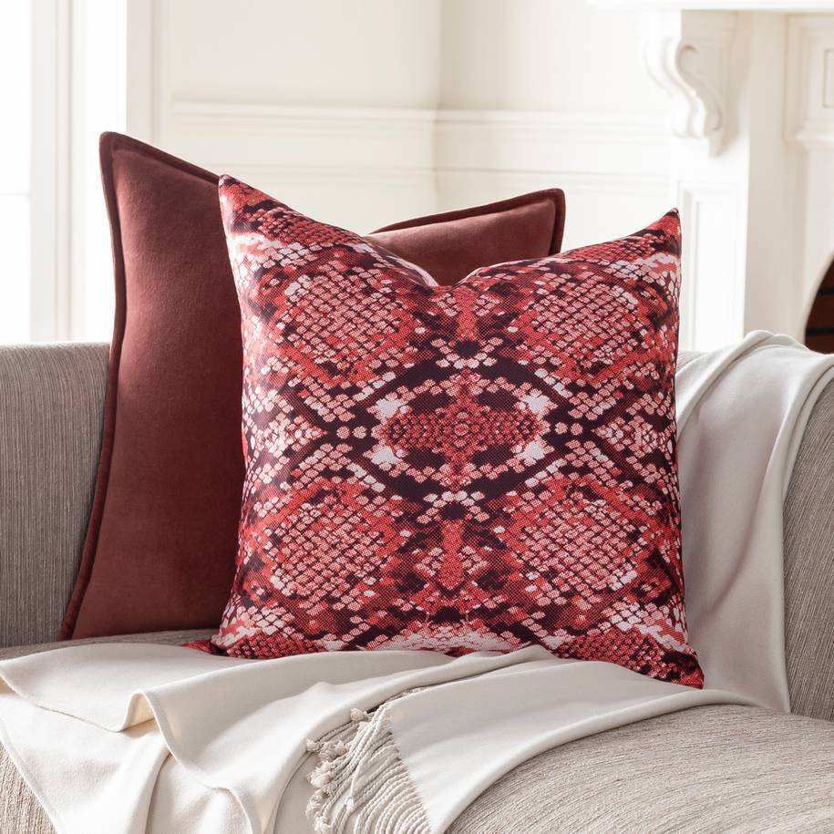 Red, Brown, & White Faux Snakeskin Throw Pillow with Knife Edge
