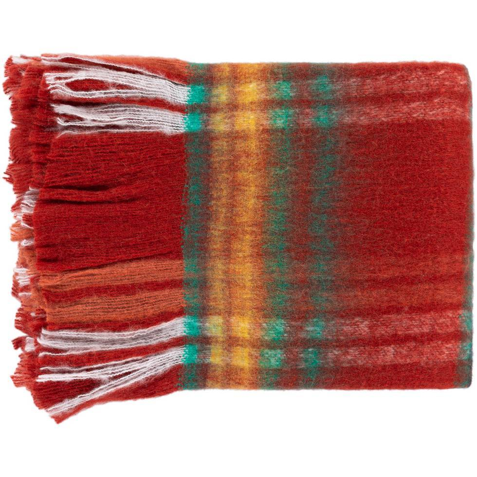 Red, Green, Yellow, & White Striped Throw Blanket with Fringe