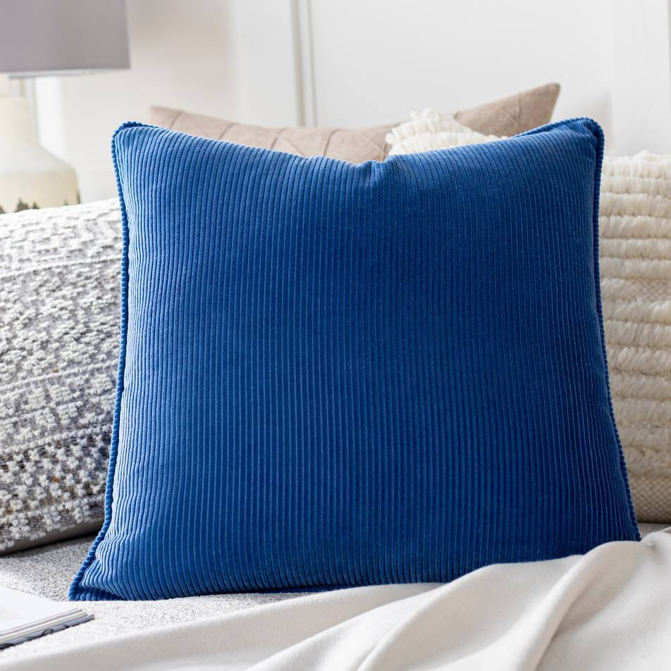 Royal Blue Velvet Throw Pillow with Piping