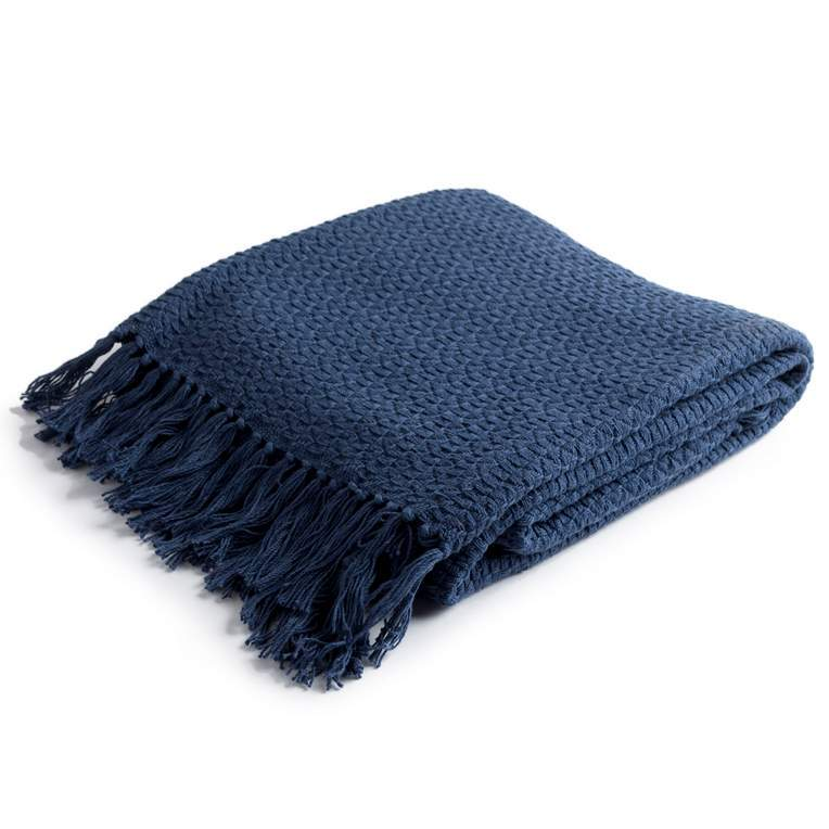 100% cotton solid navy blue woven throw with tassels