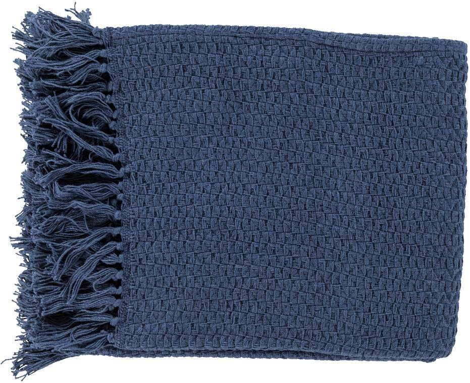 Solid Navy Blue 100% Cotton Woven Blanket with Fringe