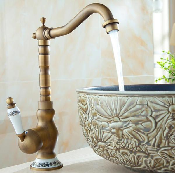 "Tall - 12"" (30.5cm) Vintage Brass Single Hole Faucet"