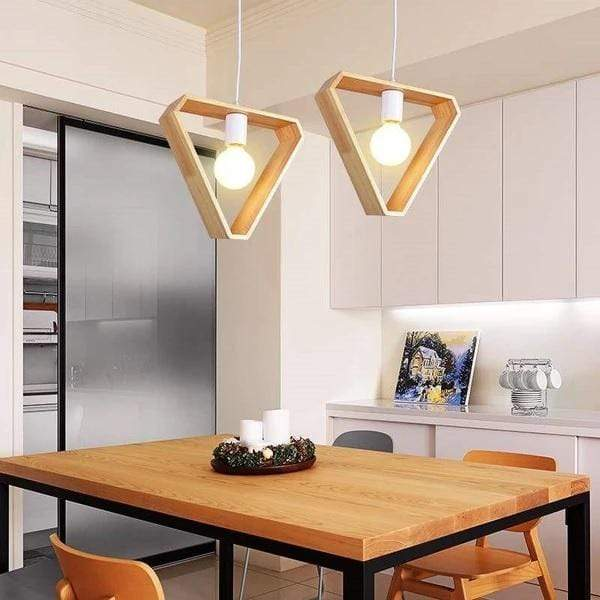Triangle / Without Bulb Geometric Design Wooden Hanging Lights
