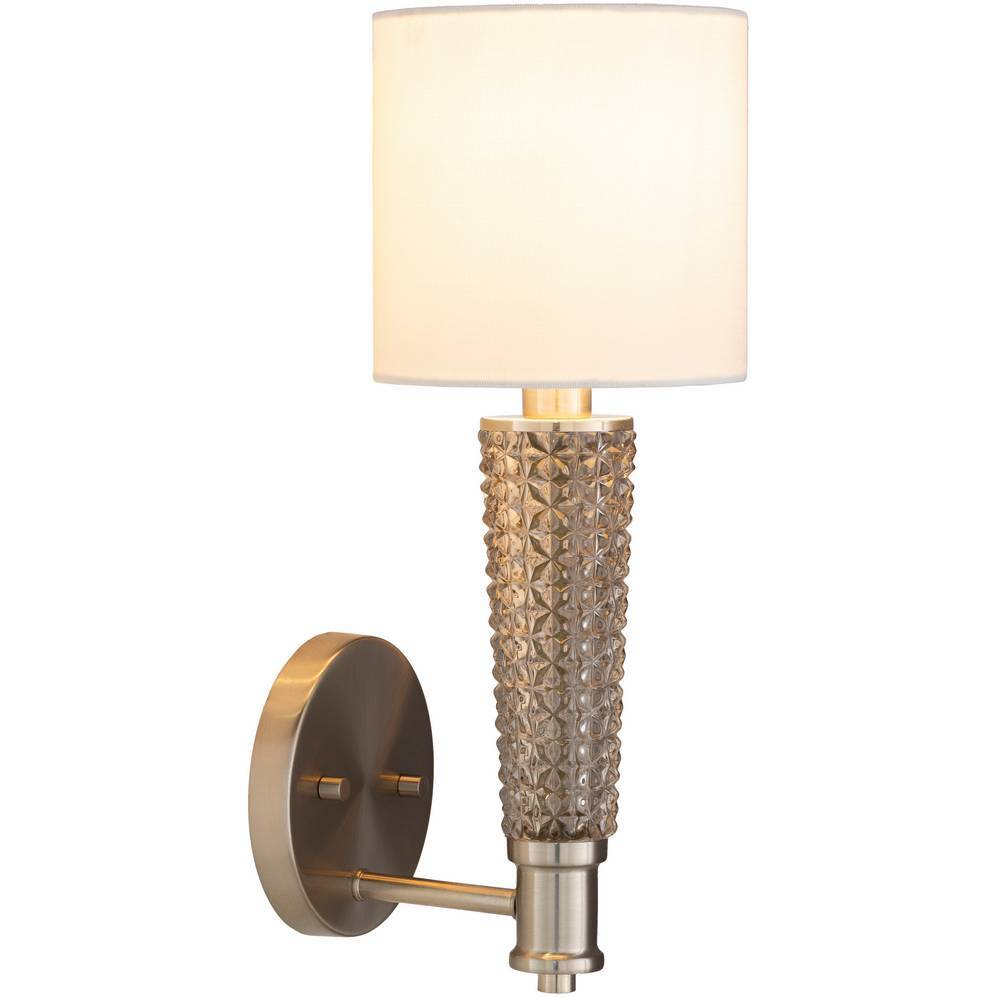 Vintage Brushed Nickel & Textured Glass Wall Light with White Drum Linen Shade